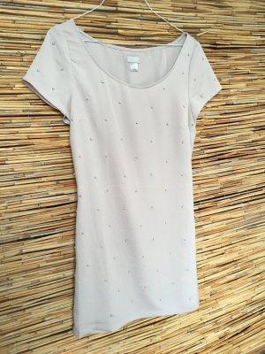 Longshirt/Kleid in hellgrau mit Perlen