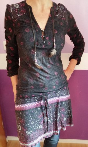 Longshirt Kleid mit Federn Bändern Boho Hippie Gr. XS