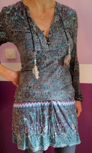 Longshirt Kleid mit Federn und Bändern Hippie Boho Style Gr. XS