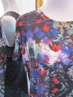 Longshirt Kleid schwarz bunt Gr M Cut Outs
