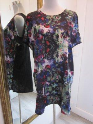 Longshirt Kleid schwarz bunt Satin Baumwolle Gr M #CutOuts