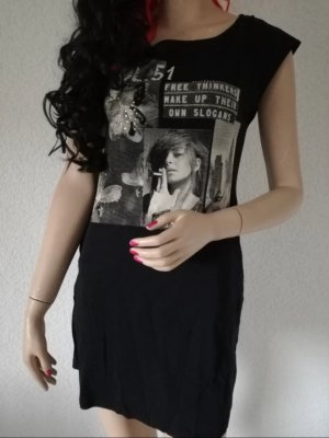 Longshirt Minikleid Foto Print Strass Long Shirt Kleid