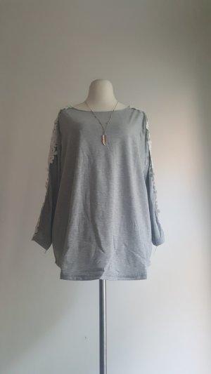 Camisa de ganchillo color plata-blanco Poliéster