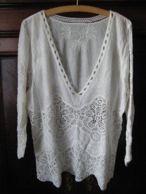 Longshirt mit Häkelspitze Shein Gr. L, ca. Gr. 38-40