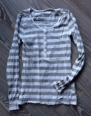 Longshirt mit Knopfleiste und Streifen