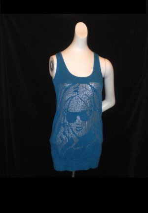 Camiseta estampada azul neón Algodón