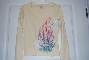 Longshirt ONLY - Blumen - Print - Glitzer - gelb - Sommer - fast neu