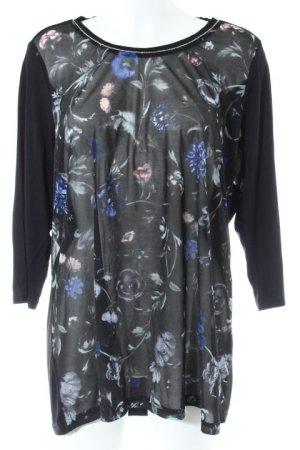 Longshirt schwarz Blumenmuster Casual-Look