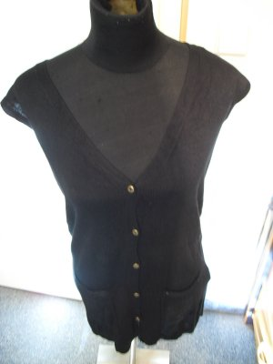 Longshirt schwarz Oversize mit Knöpfen