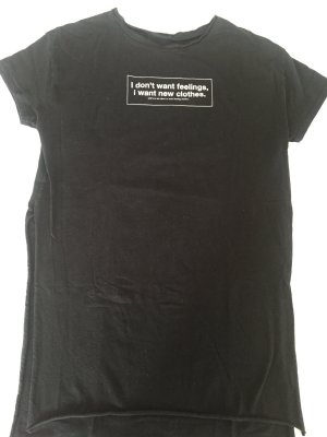 Longshirt schwarz weiß Statement i don't want feelings i want New clothes