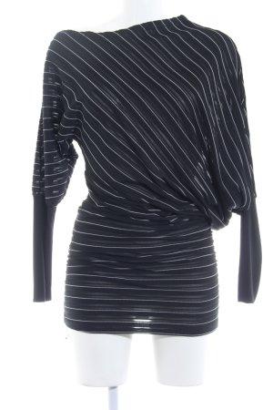 Haut long noir-blanc motif rayé style décontracté