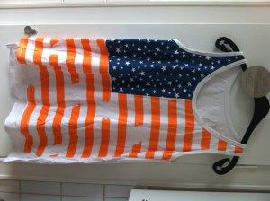 Longshirt, USA Aufdruck blau weiß orange ONE SIZE