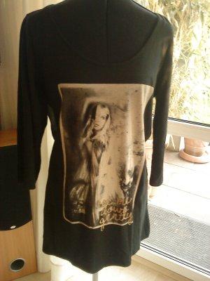 Only Long Shirt black-gold-colored mixture fibre