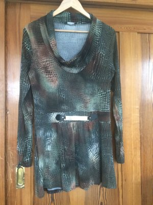 Oppose Lang shirt groen-grijs-roodbruin Lycra