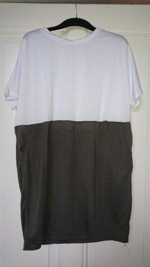 Camisa larga blanco-gris
