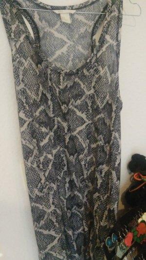 Longsize Oversize Tanktop Top Kleidchen Schlangenmsuter schwarz weiss