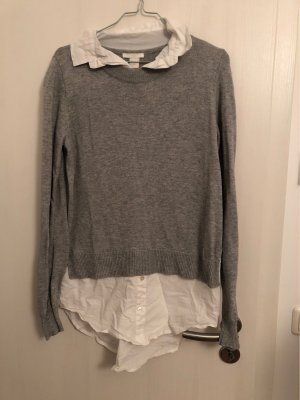 H&M Fine Knitted Cardigan white-light grey