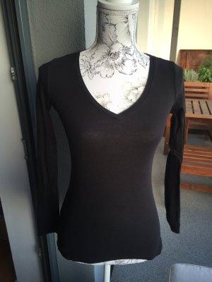 Longsleeve Basic Shirt langarm schwarz Gr S