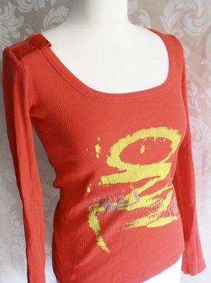 Longsleeve-Graffiti-Print-Shirt von Only in Trendfarbe Hummer, Grösse M