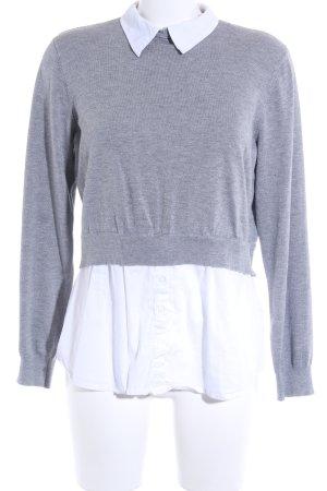 Longsleeve grau-weiß Casual-Look