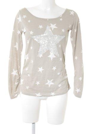 Top à manches longues gris clair-blanc cassé Motif d'étoiles