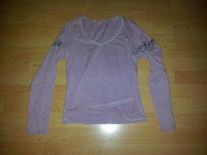 Longsleeve Langarm Shirt rosa mit Applikationen, Gr. S / 36