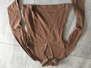 Longsleeve / Langarmshirt von Espri in braun mit Polokragen