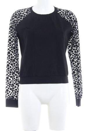 Longsleeve schwarz-weiß Punktemuster Casual-Look