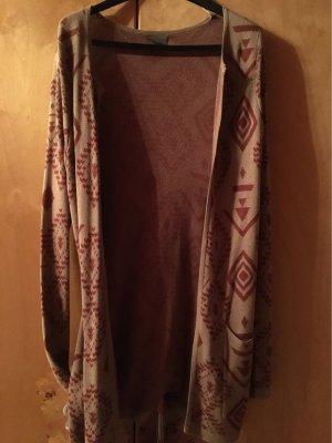 Vero Moda Gilet long tricoté beige-rouge brique