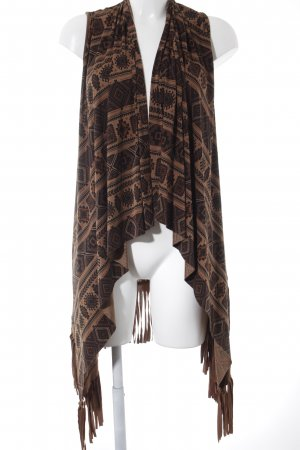 Long Knitted Vest abstract pattern casual look