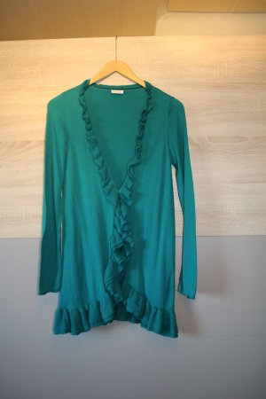 Street One Long Knitted Vest turquoise cotton