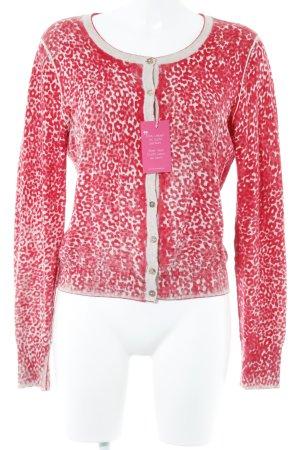 Chaleco de punto largo rojo-blanco puro estampado floral estilo hippie