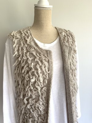 V Milano Long Knitted Vest oatmeal mixture fibre