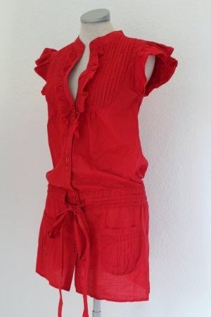 Longtop kurzarm Bluse Tunika rot Gr. UK 8 EUR 36 XS S A Wear Baumwolle Blusentop