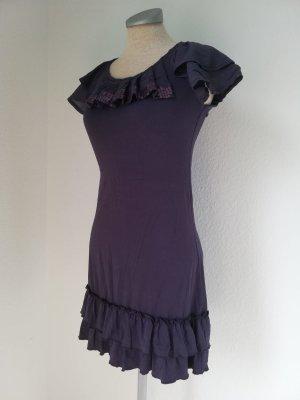 Longtop kurzarm Shirt Gr. XXS 32 lila Pailletten Top Oberteil gerüscht