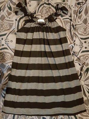 Longtop L oder Kleid onesize gestreift grau meliert und schwarz A-Linie Yessica