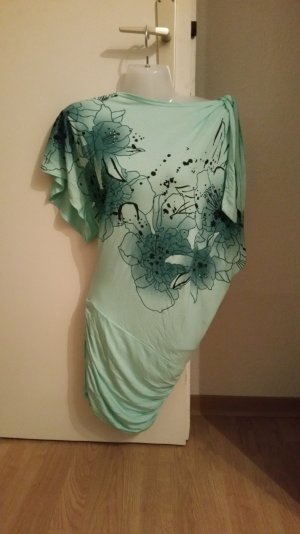Longtop/Minikleid in Mint mit Blumenmuster