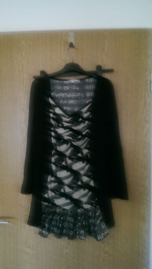 Longtop/Minikleid schwarz weiß
