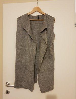 Takko Gilet long tricoté gris