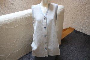 Gilet long tricoté blanc cassé-bleu pâle coton
