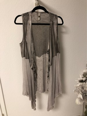 Tredy Long Knitted Vest light grey-grey brown