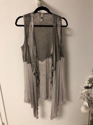 Tredy Gilet long tricoté gris clair-gris brun