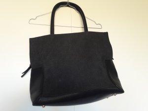 Lookat Schultertasche Handtasche Shopper schwarz Kunstleder gold