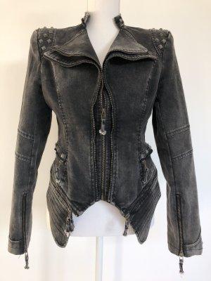 Lookbook Store Jacke Jeans Jeansjacke grau Nieten Blazer mehrlagig