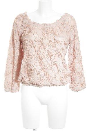 Lookbookstore Rundhalspullover rosé Blumenmuster Business-Look