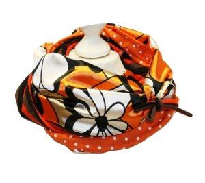 Loop Blumen Streifen und Punkte Braun Orange