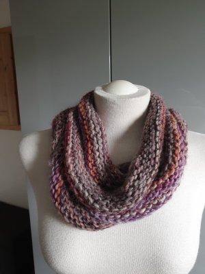 Gebreide sjaal licht beige-lila