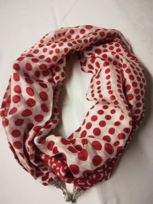 Silk Scarf white-red silk