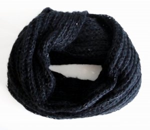 Loop Schal Pailletten schwarz kuschelig