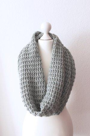 Loop-Schal, türkis/grau mit goldenen Fäden